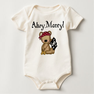 Body Para Bebê Ahoy Creeper orgânico do pirata amigo do urso de
