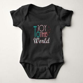 Body Para Bebê Alegria às notas da música da tipografia do Natal