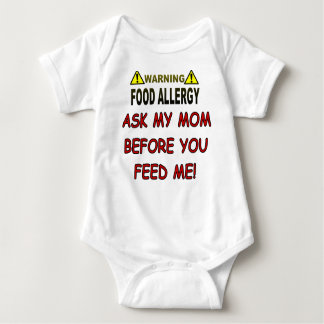 Body Para Bebê Alergia de comida de advertência