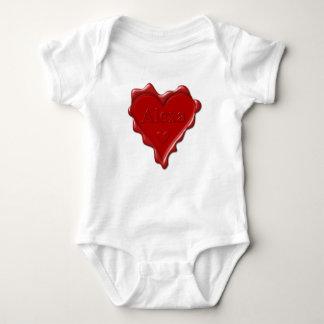 Body Para Bebê Alexa. Selo vermelho da cera do coração com Alexa