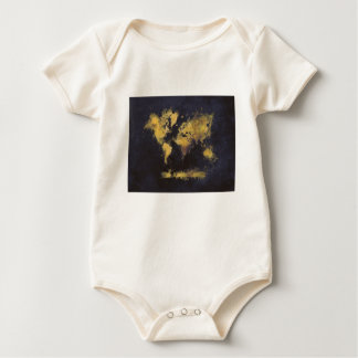 Body Para Bebê amarelo preto do mapa do mundo