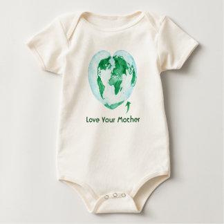 Body Para Bebê Ame seu Bodysuit do bebê da Mãe Terra