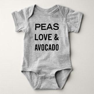 Body Para Bebê Amor das ervilhas e chalaça da comida do abacate