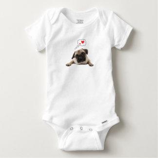 Body Para Bebê Amor do Pug uma parte