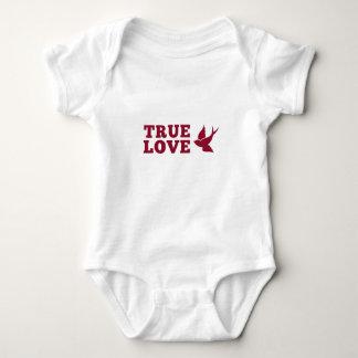 Body Para Bebê Amor verdadeiro vermelho e branco e pássaro