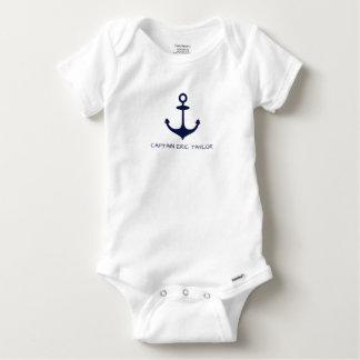 Body Para Bebê Âncora náutica personalizada dos azuis marinhos