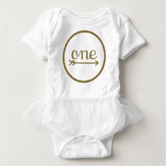 Body Para Bebê Aniversário do bebê da seta uma do brilho do ouro
