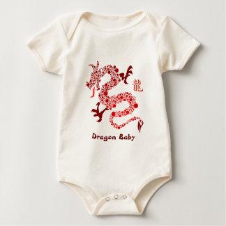Body Para Bebê Ano chinês vermelho do Creeper do bebê do dragão