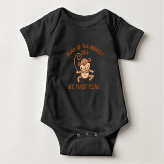 Body Para Bebê Ano do bebê 2016 do macaco
