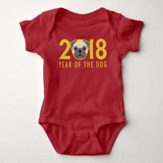 Body Para Bebê Ano novo chinês 2018 anos do Pug do cão