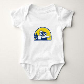 Body Para Bebê Apontar do Caddie e do jogador de golfe retro