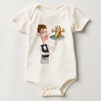 Body Para Bebê Apontar e Kebab do garçom dos desenhos animados