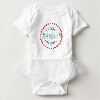 Body Para Bebê Aqua do Feliz Natal & tipografia vermelha do selo