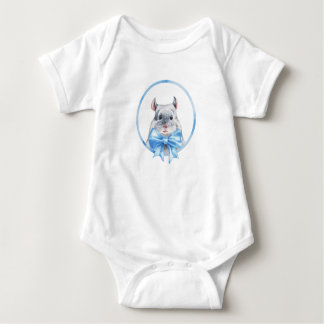 Body Para Bebê Arco azul da chinchila 1.