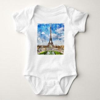 Body Para Bebê Arquitectura da cidade Paris da aguarela, Eiffel