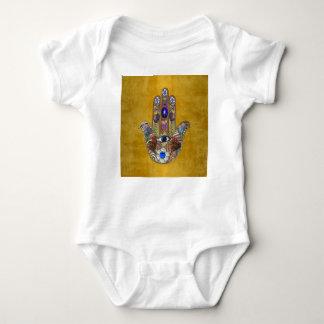 Body Para Bebê Arte do Opal das flores dos corações de Hamsa no