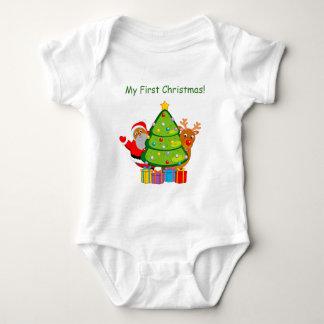 Body Para Bebê Árvore de Natal com um Papai Noel & um Rudolph