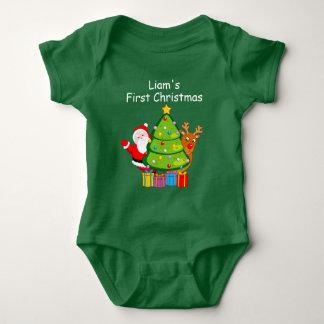 Body Para Bebê Árvore de Natal do divertimento com Papai Noel e