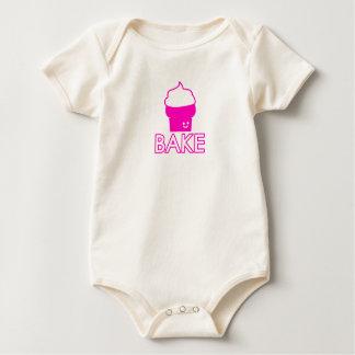 Body Para Bebê Assar - design do cupcake - texto branco