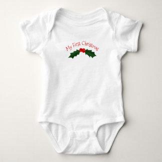 Body Para Bebê Azevinho e bagas meu primeiro Natal