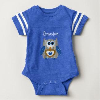 Body Para Bebê Azul e bebê personalizados da coruja de Brown uma