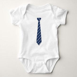 Body Para Bebê Azul falsificado engraçado laço listrado