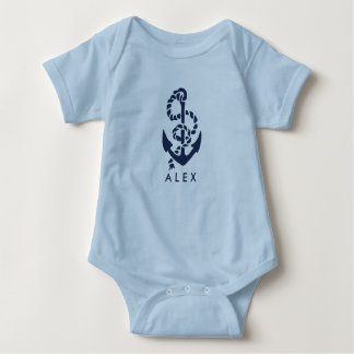 Body Para Bebê Azul náutico da âncora personalizado