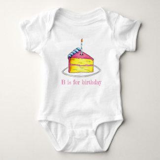 Body Para Bebê B é para o alfabeto do rosa da vela da fatia do