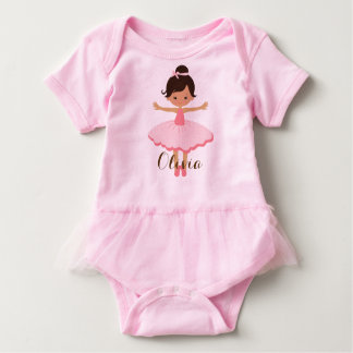 Body Para Bebê Bailarina personalizada - olhos de Brown do cabelo