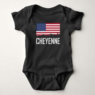 Body Para Bebê Bandeira americana da skyline de Cheyenne Wyoming