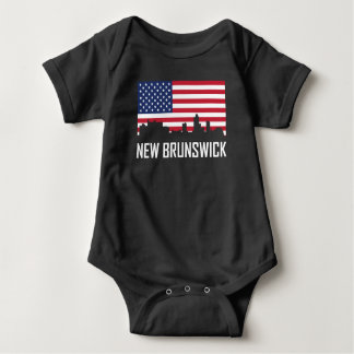 Body Para Bebê Bandeira americana da skyline de Novo Brunswick