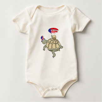 Body Para Bebê bandeira americana da tartaruga e do caracol