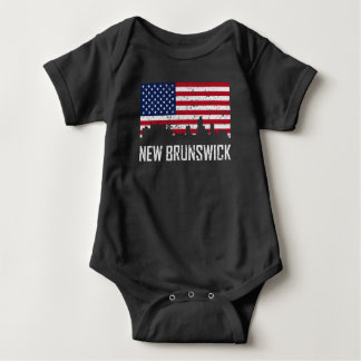 Body Para Bebê Bandeira americana Dis da skyline de Novo