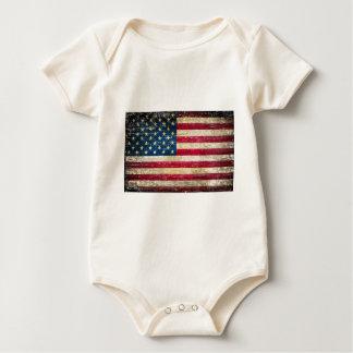 Body Para Bebê Bandeira americana do Grunge