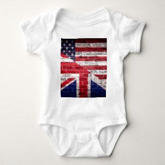 Body Para Bebê Bandeira americana e britânica