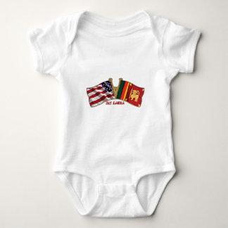 Body Para Bebê Bandeira da amizade de SRI LANKA-USA