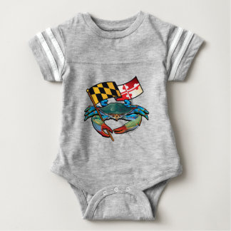 Body Para Bebê Bandeira de Maryland do caranguejo azul