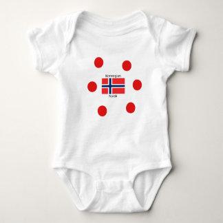 Body Para Bebê Bandeira de Noruega e design norueguês da língua