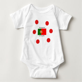 Body Para Bebê Bandeira de Portugal e design português da língua