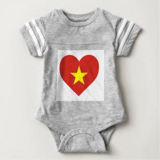 Body Para Bebê Bandeira de Vietnam - vàng do sao do đỏ do amor