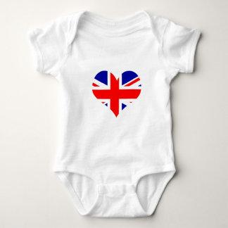 Body Para Bebê Bandeira do coração de Union Jack