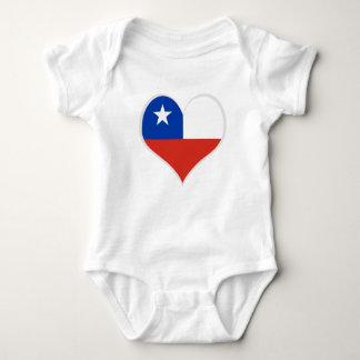 Body Para Bebê Bandeira do coração do Chile