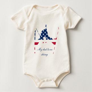 Body Para Bebê Bandeira dos EUA do americano de esqui de América