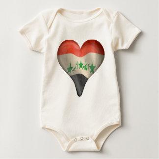 Body Para Bebê Bandeira iraquiana em um coração