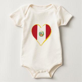 Body Para Bebê Bandeira peruana da forma do coração com protetor