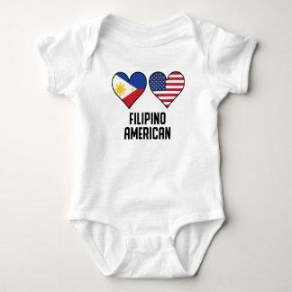 Body Para Bebê Bandeiras americanas filipinas do coração
