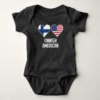 Body Para Bebê Bandeiras americanas finlandesas do coração