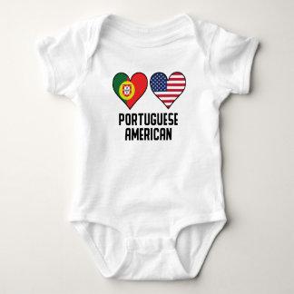 Body Para Bebê Bandeiras americanas portuguesas do coração