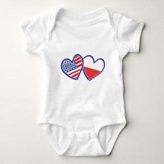 Body Para Bebê Bandeiras do coração do Polônia dos EUA