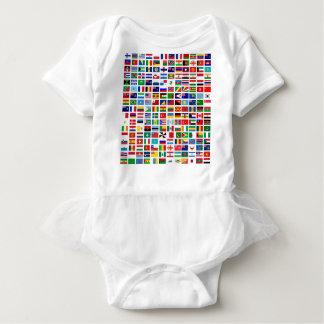 Body Para Bebê bandeiras do mundo contra o branco